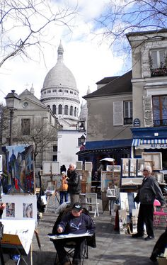MONTMARTRE, Paris, France ~~~Sacre Couer in the background~~~ Beautiful church and view of Paris!