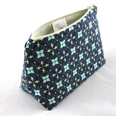 Navy Makeup Bag with Floral Tile Design by LePiqueNiqueHandmade