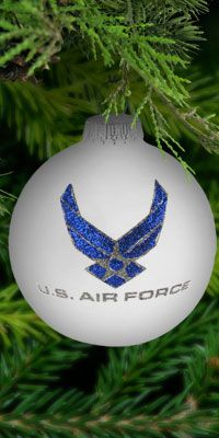 Air Force Ornament.  I need a tree full of these!  Ooooo if Zachary gets to come home for Christmas, I so want to do a blue and silver USAF tree for him!