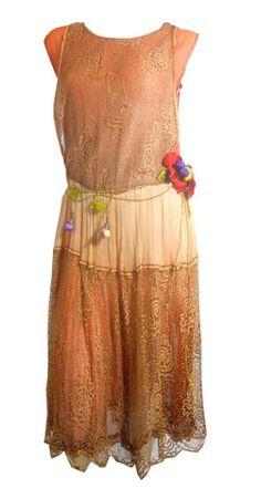 Apricot Botanical Silk Fruit and Vine Draped Copper Lace and Silk Dress circa 1920s