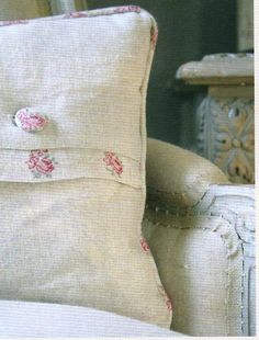 Button detail ~ Kate Forman <3 Ring Pillows, Throw Pillows, Kate Forman, Zoes Kitchen, Textiles, Cushion Pillow, Linens And Lace, Rose Cottage, Pillow Talk
