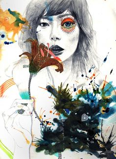 flower by minjae lee - Mixed Media Illustrations by Minjae Lee  <3 <3