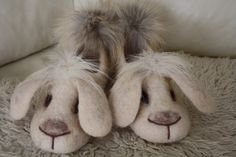Bunny Slippers by FeltTati on Etsy, $120.00