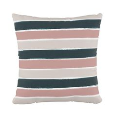 Stripe Square Throw Pillow Pink/Teal (Pink/Blue) - Cloth & Co. Round Back Dining Chairs, Outdoor Tables And Chairs, Dining Room Table Chairs, Accent Chairs For Living Room, Teal Cushions, Chair Cushions, Swivel Chair, Rose Gold Throw Pillows, Gold Desk Chair