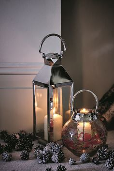 Treat someone special to a seasonal gift for their home and what better than these classic silver lanterns. All you need to do is light up a candle inside!