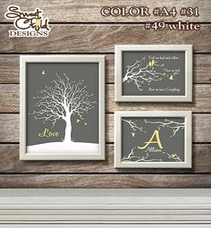 Family Tree Nusery Gallery Art Prints Set for Baby Room Decor and Nursery Wall Decorations - Custom Print Set for Baby Boy and Girl Gift on Etsy, $19.95
