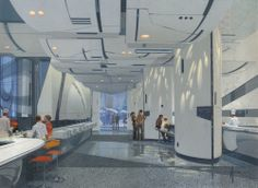 Almost Genius: Futuristic Food Court by Blade Runner's Set Designer, Syd Mead Spaceship Interior, Futuristic Interior, Futuristic Design, Futuristic Architecture, Contemporary Architecture, Cyberpunk, Blade Runner, Syd Mead, Sci Fi City