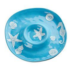 Coastal Bright Aqua Chip N Dip Platter