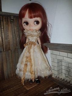 Vintage style dress adorned with bow and collar. Dress is tea dyed and stained to give it vintage look. The collar can be worn separately with other outfits.  Presented by Tosia. The dress will fit Blythe standard and fake body, as well as Pullip dolls.   This listing is for dress