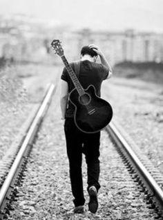Guitar Photography Railroad Alone Boy Senior