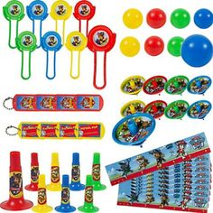 Fill your little guest's loot bags with these awesome and colorful party favors featuring your favorite Paw Patrol. Assorted colors like green, yellow, red, and blue featuring Chase, Marshall, Rubble,