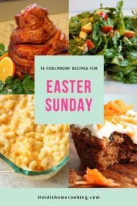 These 13 recipes for Easter Sunday are easy, foolproof, and delicious! There is everything from an easy glazed ham to a decadent carrot cake muffin with cream cheese frosting. With multiple salads, side dishes, and vegetarian options, there is something for everyone. Try them today!