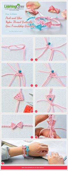 How to Make Pink and Blue Nylon Thread Butterfly Bow Friendship Bracelets from LC.Pandahall.com