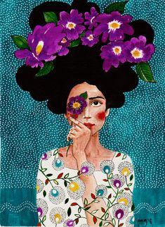 Paintings by Hülya Özdemir - Ego - AlterEgo - flowers drawing Art Inspo, Inspiration Art, Frida Art, Art Et Illustration, Art Illustrations, Fantasy Kunst, Art Plastique, Oeuvre D'art, Art Drawings