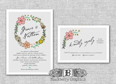 rustic floral Wedding Invitations vintage by blackberrygraphics, $30.00