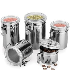 Stainless Steel Airtight Seal Canister Flour Tea Jar Food Dry Storage Container