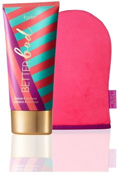 """To avoid staining silks or light-colored clothing, tanning expert James Read recommends applying the product with a mitt to get a fine layer. """"Wait a few minutes, then pat the skin with a [clean and dry] buffing mitt or tissue. Then get dressed.""""Tarte Better Bod Bronze & Contour, $39, sephora.com."""