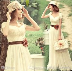 Wholesale Evening Dresses - Buy Youthful Sweetheart Short Sleeve 2014 Evening Dresses Floor Length Chiffon Pleats White Bridesmaid Dresses, $99.54 | DHgate