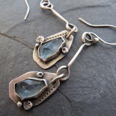 Long Earrings silver Dangling aquamarine gemstone pale by artdi