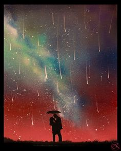 Couple Umbrella Paintings Falling Stars Raining by KanoelaniArt Galaxy art Space painting