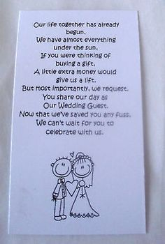 50 Small Wedding Gift Poem Cards asking for Money Bride & Groom 1 in Home, Furniture & DIY, Wedding Supplies, Cards & Invitations Wedding Invitation Poems, Wedding Gift Poem, Wedding Gifts For Groom, Bride Gifts, Wedding Cards, Diy Wedding, Wedding Day, Wedding Stationary, Wedding Favours