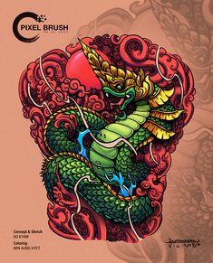 Dragon Koi Tattoo Design, Geisha Tattoo Design, Dragon Design, Tribal Arm Tattoos, Body Art Tattoos, Maori Tattoos, Warrior Tattoo Sleeve, Tiger Head Tattoo, Khmer Tattoo