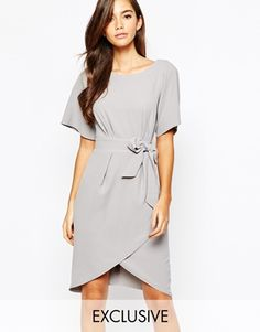 Closet Tie Front Dress With Kimono Sleeve