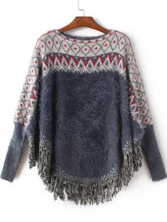 Sleeve Length(Cm): 61cm Length(Cm): 60cm Size Available: one-size Season: Winter Pattern Type: Geometric Items: Poncho Color: Navy blue Types: Loose Sleeve Length: Long Sleeve Neckline: Round Neck Mat