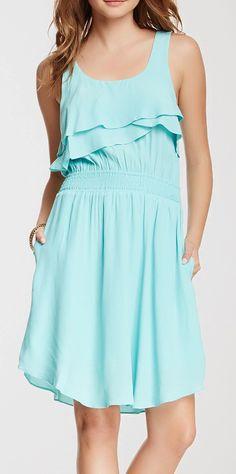 Ruffle Front Sleeveless Dress