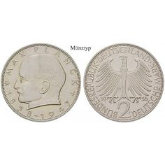 Bundesrepublik Deutschland, 2 DM 1958, Planck, F, f.st, J. 392: Kupfer-Nickel-2 DM 1958 F. Planck. J. 392; fast stempelfrisch 55,00€ #coins