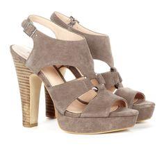 gray stacked heel