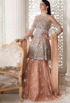 Sharara Designs, Lehenga Designs, Stylish Dresses, Simple Dresses, Fashion Dresses, Lehenga Blouse, Silk Lehenga, Saree Dress, Pakistani Dress Design