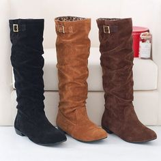 Fashion Women's Synthetic Leather Shoes Low Heel Knee-High Pull On Boots B045 #SHOP0086 #FashionKneeHigh #Casual