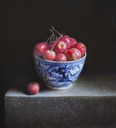 """Bowl with apples"", 2013. Oil on panel ~ Painting by Uzbekistan artist Erkin, born in 1957 in Tashkent, the USSR  ~ Using handmade paint produced at the local factory since 1644, he puts it on panel layer by layer. Only after drying, which can last even a year, he applies the final layer of varnish."