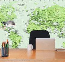 Adesivo de Parede – Mapa-múndi Educativo Verde