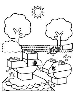 Cartoon Coloring Pages Lego Park