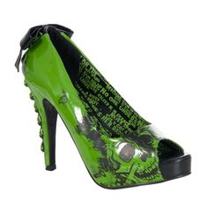 Iron Fist AMERICAN NIGHTMARE Lime Green Platform Pumps from Sinister Soles