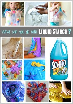 Who knew there were so many activities for kids using liquid starch! Here's a list of some of my favorites- from slimes to paper mache!