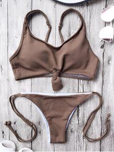 Cami Bralette String Bikini Set - COFFEE S
