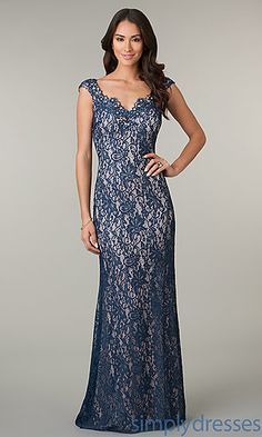 Cap Sleeve Floor Length Lace Dress at SimplyDresses.com This might be perfect in white with a royal blue long sash