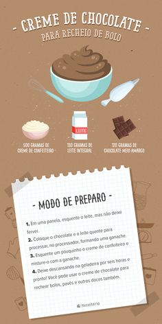 Que tal aprender a fazer um delicioso CREME DE CHOCOLATE para rechear seus bolos? My Recipes, Sweet Recipes, Dessert Recipes, Cooking Recipes, Yummy Food, Tasty, Food Illustrations, Diy Food, Cooking Time