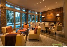 Modern rustic cabin - Dining, Living Space, Contemporary Fireplace, Home near Lake Tahoe, California. I LOVE this layout for a great room House Design, House, Home, Contemporary Fireplace, Living Spaces, Contemporary House, Contemporary Home Decor, Camp House, Warm Living