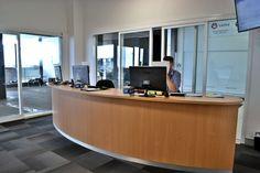 Sunshine Ford Service reception desk, Gold Coast – Birchall & Partners Architects. Architects Ipswich | Architects Brisbane | Architects Gold Coast Brisbane Architects, Receptions, Gold Coast, Showroom, Sunshine, Garage, Ford, Lounge, Desk