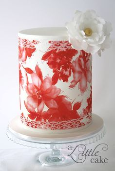 Double barrel cake with wafer paper flower - by A Little Cake
