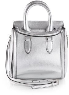 View Item: $1895 Alexander McQueen Silver Heroine Metallic Leather Tophandle Bag Sold Out