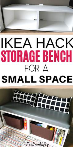IKEA Besta Hack - DIY seating bench perfect for small spaces {EASY} - - Make this easy Ikea Besta hack for small spaces. This versatile seating bench idea can be used for the entryway, mudroom, kitchen, toy storage, hallway. Cube Storage Baskets, Toy Storage Bench, Shoe Storage, Diy Storage Bench With Cushion, Diy Storage Cubes, Window Seat Storage Bench, Diy Bench Seat, Kitchen Storage Bench, Laundry Storage