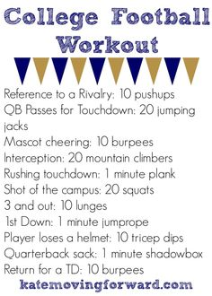 College Football Workout--get your heart rate up during the game! #fitness #workouts
