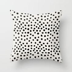Preppy Brushstroke Free Polka Dots Black And White Spots Dots Dalmation Animal Spots Design Minimal Throw Pillow by Charlottewinter - Cover x with pillow insert - Indoor Pillow
