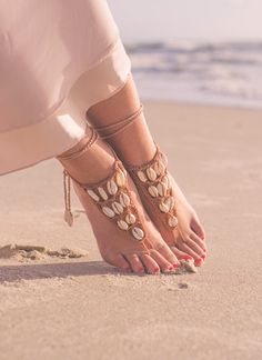 Seashell Barefoot Sandals, Foot Jewelry for a Beach Wedding and Boho Wedding for sale Beach Wedding Sandals, Wedding Gifts For Bridesmaids, Soleless Sandals, Gorgeous Feet, Beautiful, Ankle Jewelry, Handmade Jewelry Designs, Bare Foot Sandals, Fabric Jewelry