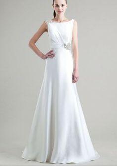 Satin Bateau Neckline A-Line Style with Beaded Embellishment Wedding Dress WJY-0104